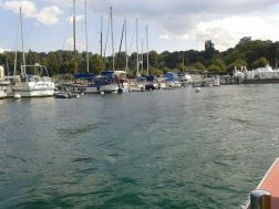 Lac Leman by day, with a flotilla of boats.