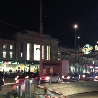 Outside Gare Cornavin at night - always busy.