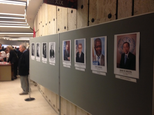 Two boards with all the directors of the UN over the years.