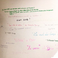 Classy graffiti in the ladies' (the text says 'what book/film gives you hope in life or humanity?')