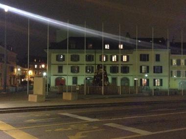 Place de l'Octroi, Carouge le soir.