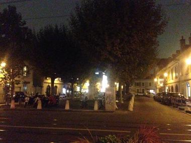 Place du Marché, Carouge, le soir.