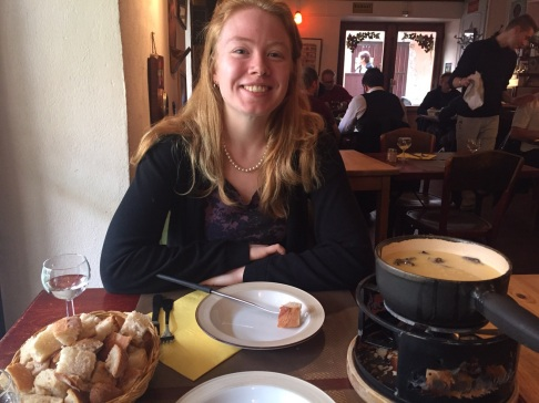 I'll admit I don't actually like this photo, but it's the only proof I have of me eatin fondue! It was actually fondue with mushrooms, for those wondering what the grey chunks in the bowl are.