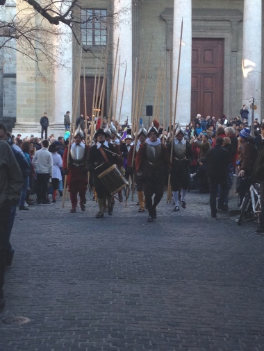 Procession of guards in front of the cathedral.