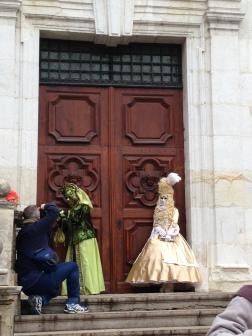 Two ladies on the steps of Eglise Saint François de Sales