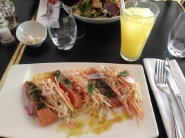 Lunch in Lyon. It was SO GOOD. Smoked salmon with mustard slaw, and a glass of Orangina on the side!
