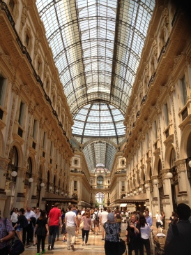 Designer shops, beautiful tiled floors and Italian frescoes.